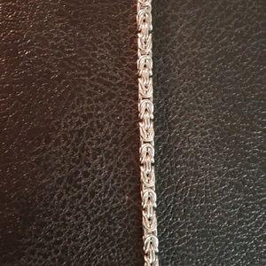 Jewelry - Sterling silver square link byzantine bracelet